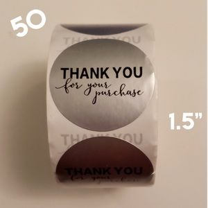 """50 Round Thank You Silver foil stickers - 1.5"""""""